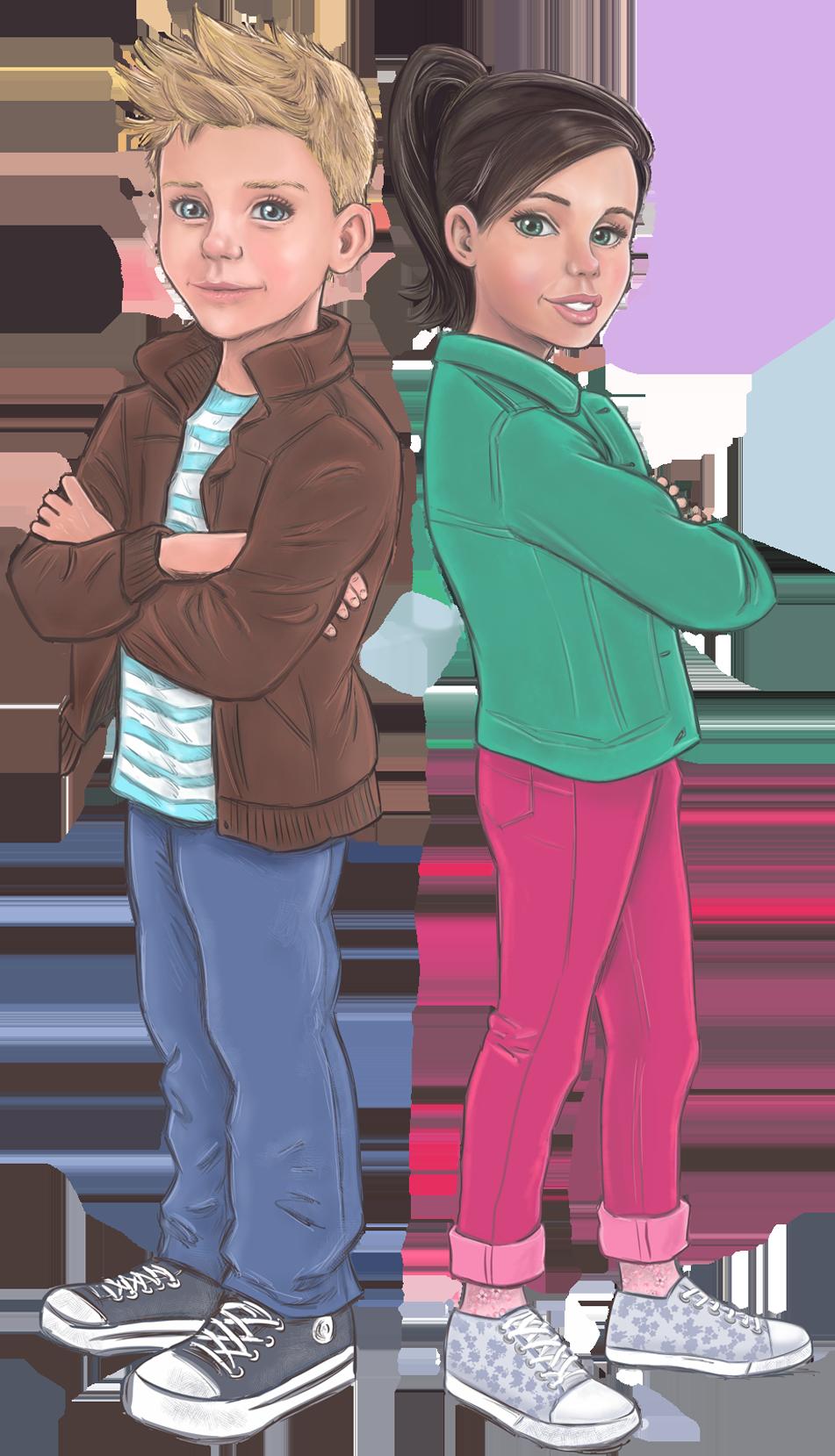 Illustratie jongen - meisje